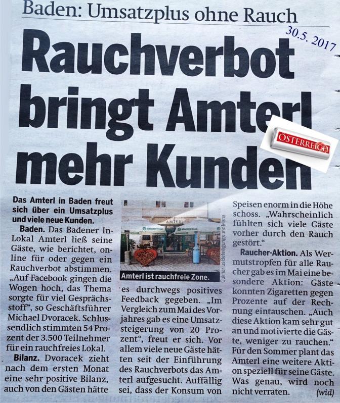 Amterl Baden rauchen ÖSTERREICH 30.5.2017