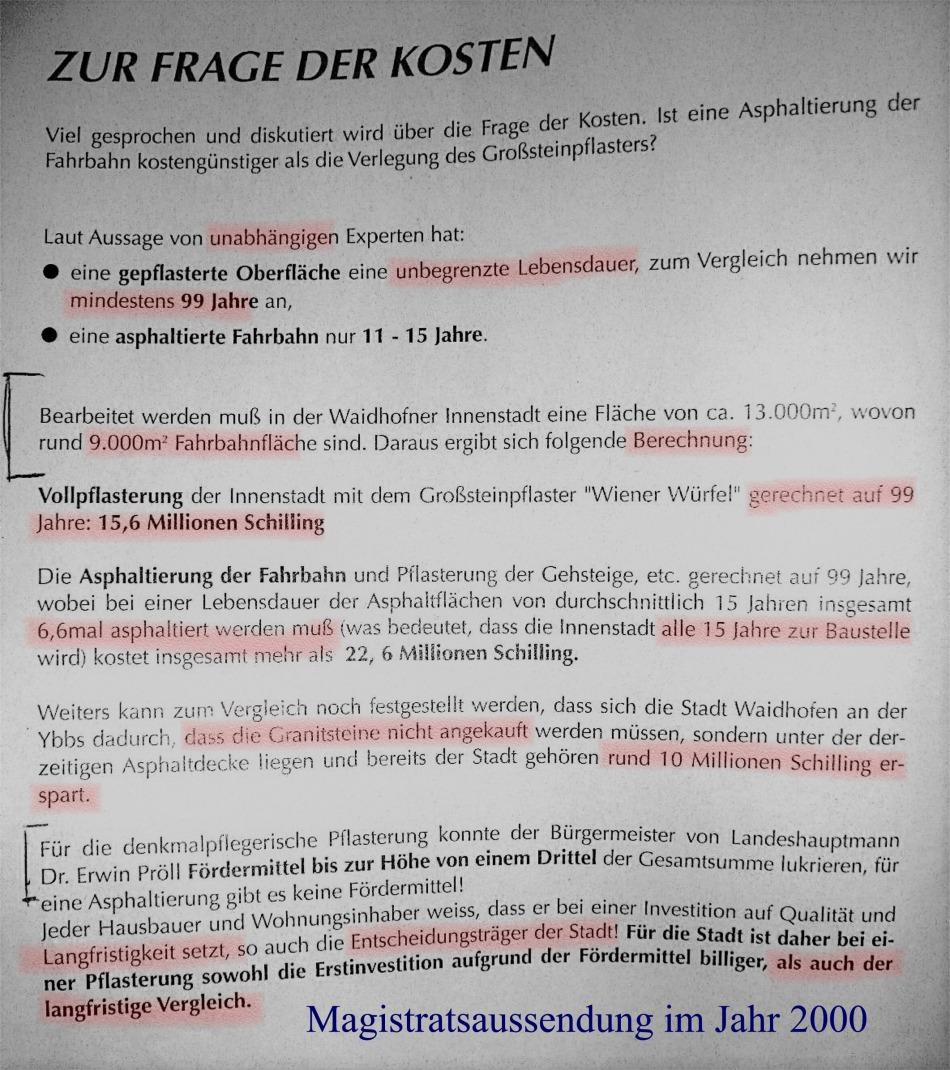 Aussendung Magistrat 2000 markiert