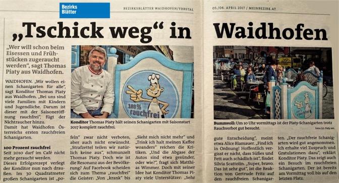 Bezirksblätter schanigarten rauchfrei 5.4.2017