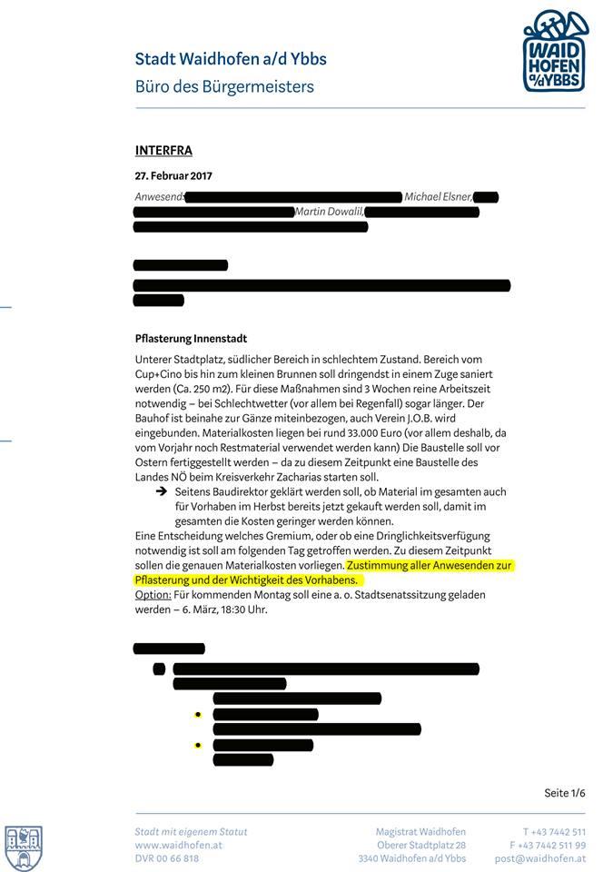 Internes Papier der Gemeinde zur Pflasterung, veröffentlicht auf Facebook