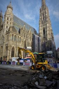 Pflaster Wien Stephansdom Hochformat Baubeginn Foto Piaty