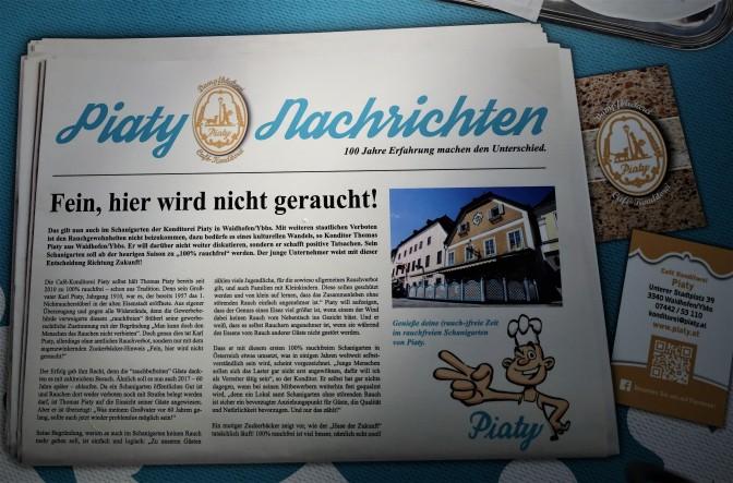Schanigarten Piaty Waidhofen an der Ybbs - Tischplatte Nichtrauchen