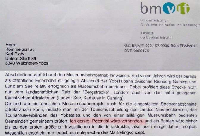 Ausschnitt Brief BM Bures 13.11.2013 soup