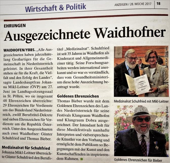 Schuhfried Bieber Landhaus Auszeichnungen Mikl Leitner