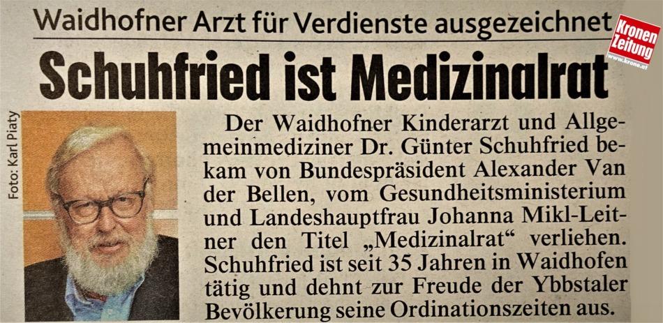 Schuhfried Medizinalrat Logo Krone 7.7.2017