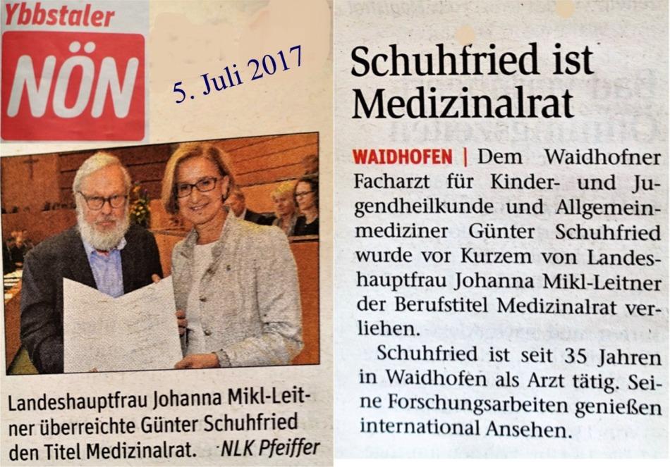 Schuhfried Medizinalrat NÖN 4.7.2017 LOGO