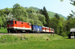 Ybbstalbahn Wiese mit Räderwaggon