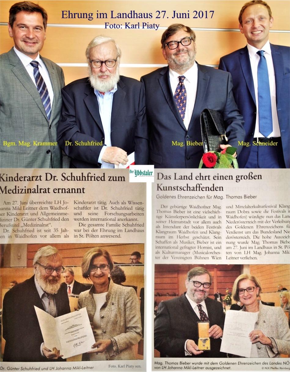 Ybbstaler Bericht Ehrung Schuhfried