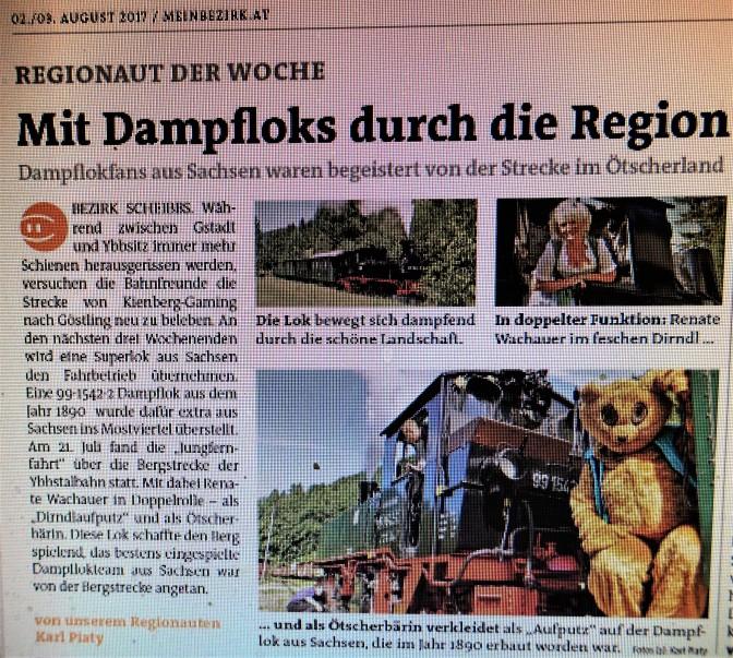 Bezirksblätter Scheibbs dampflok 2. 8. 2017