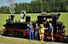 Dampflokteam mit Ötscherbärin