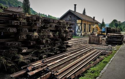 Heizhaus Schienen und Schwellen