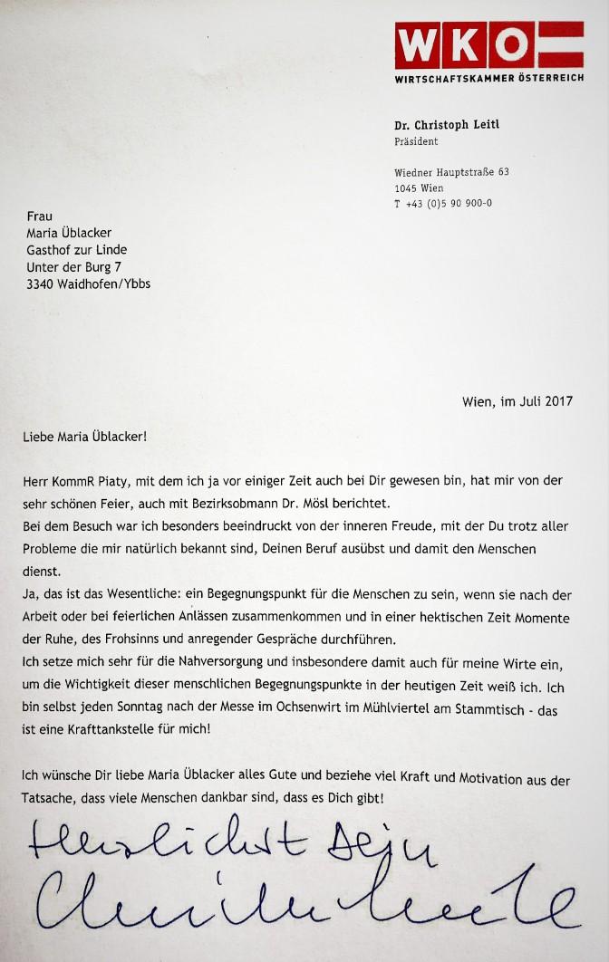 Leitl an Maria Üblacker