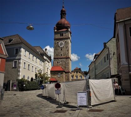 Ansichtskartenmotiv Stadtturm Waidofen 7.8.2017 Pflasterung