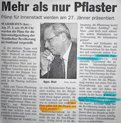Zeitung Pfaster - Mair