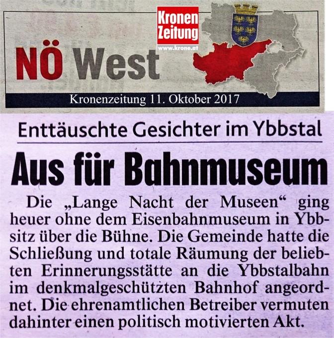 Krone LOGO 11.10.2017 Bahnmuseum Ybbsitz