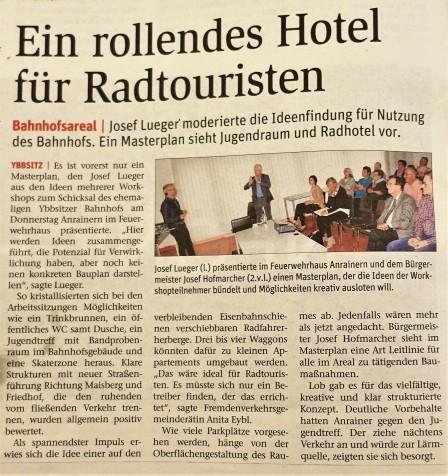 Rollendes Hotel für Radler in Ybbsitz