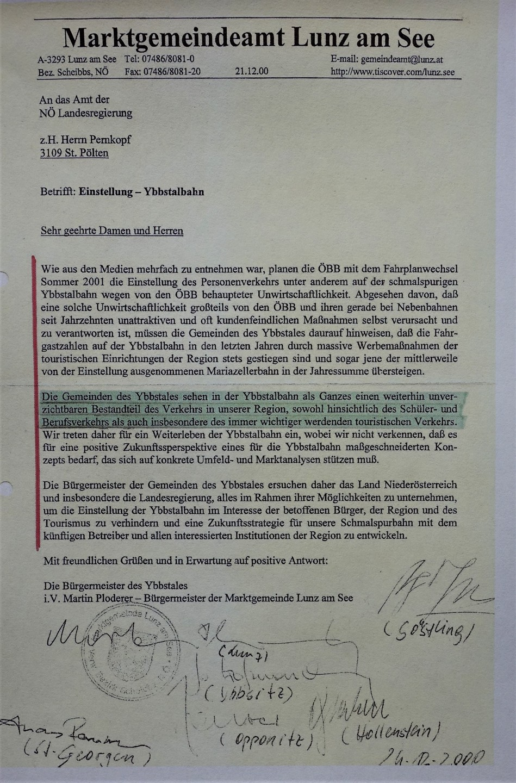 Eisenbahnmuseum - Dokument Bürgermeister an Pernkopf 2000