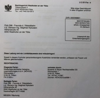 Klage NÖVOG gegen Club 598