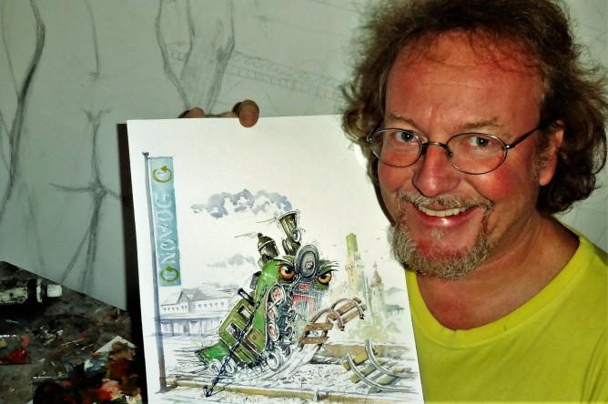 Künstler Petermandl mit Ybbstal Dampflok Bild