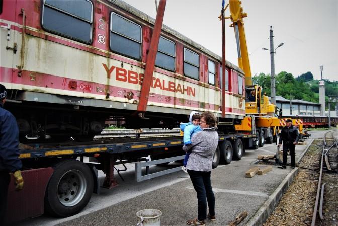 Waggon Ybbstalbahn bei Abtransport nach Rumänien