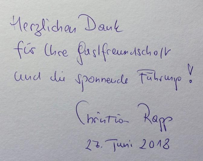 Gästebuch Christian Rapp