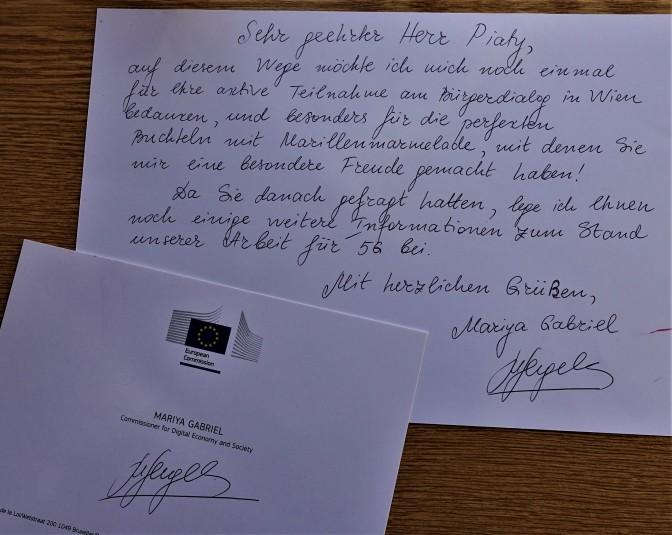 handgeschriebener Brief Gabriel