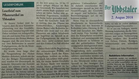 Leserbrief Ybbstaler Hans Pöchhacker