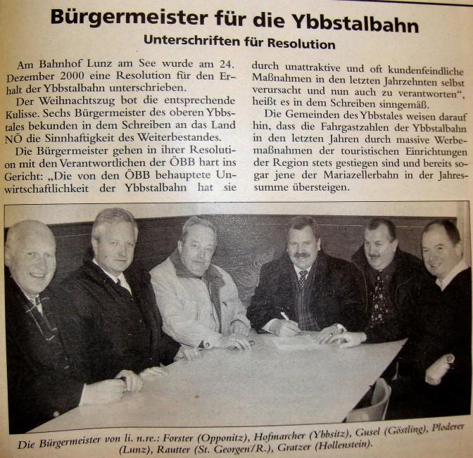 Resolution für Ybbstalbahn im Jahre 2000