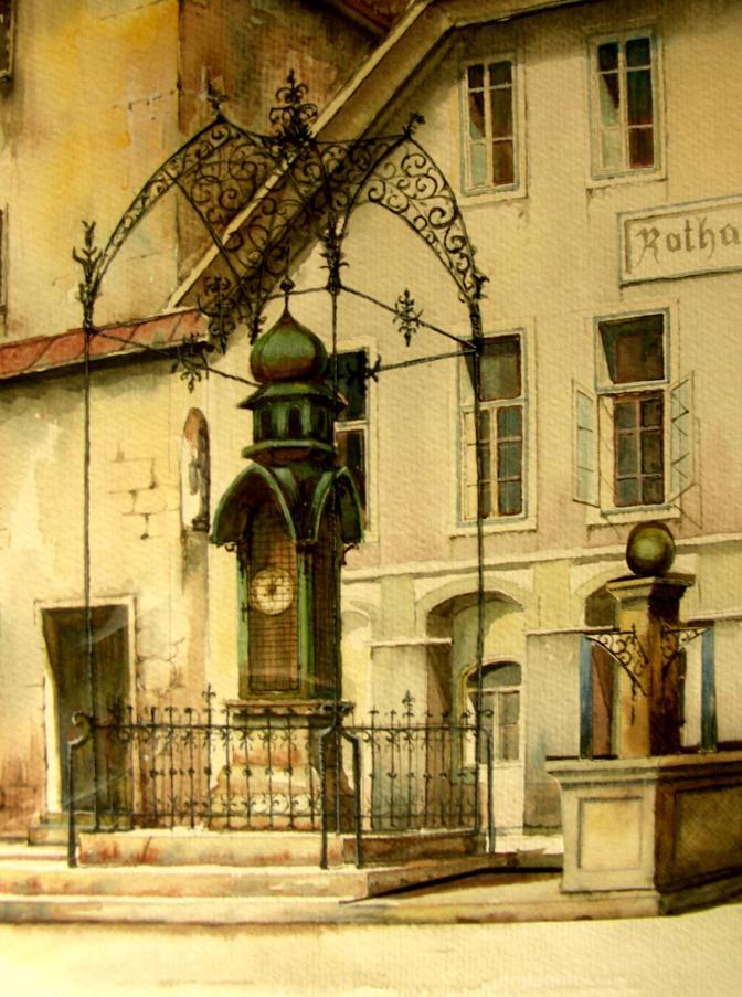 Wetterhaus Vorschlag mit Brunnen 2001 - Herbert Petermandl