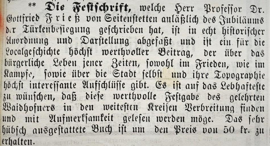 Festschrift Gottfried Frieß 1892