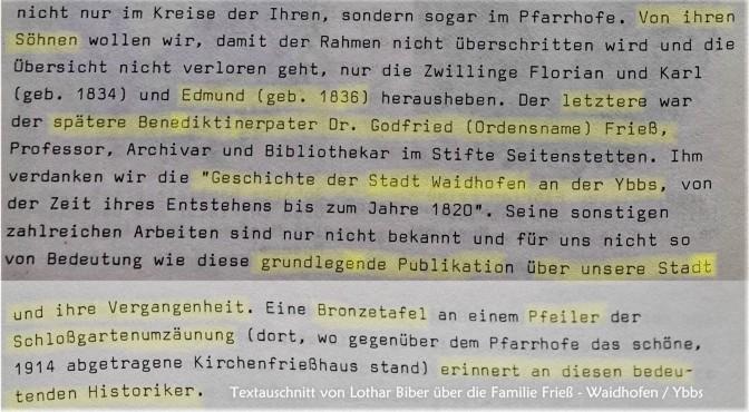 Lothar Biber zu Gottfried Frieß (2)