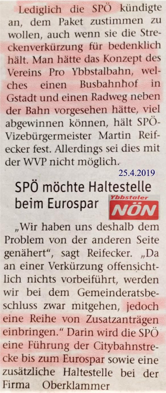 NÖN Ybbstal LOGO 25.4.2019 Citybahn SPÖ