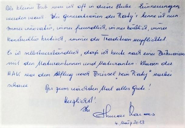 Gästebuch Piaty - Othmar Karas