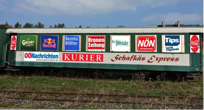 Schafkäsewaggon als Werbeträger