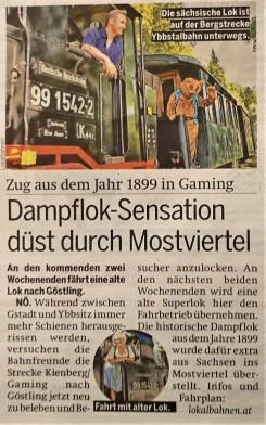 Österreich Dampflok Ötscherbär 26.7.2017