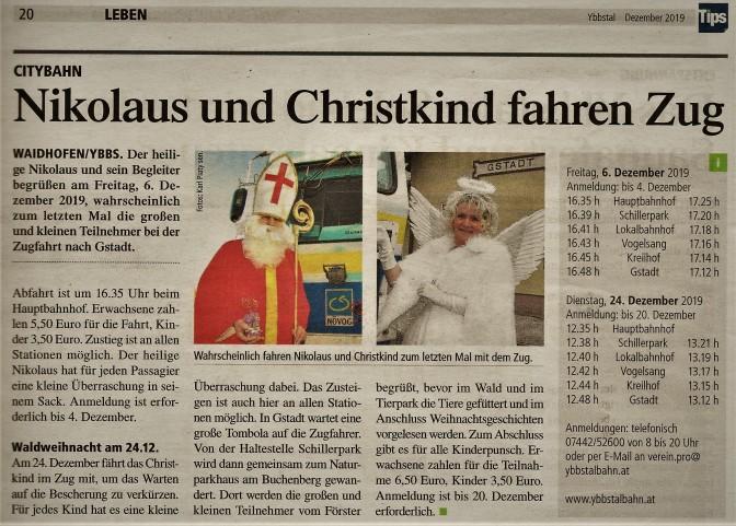 Tips- Bericht Citybahn Krampus Weihnachtszug