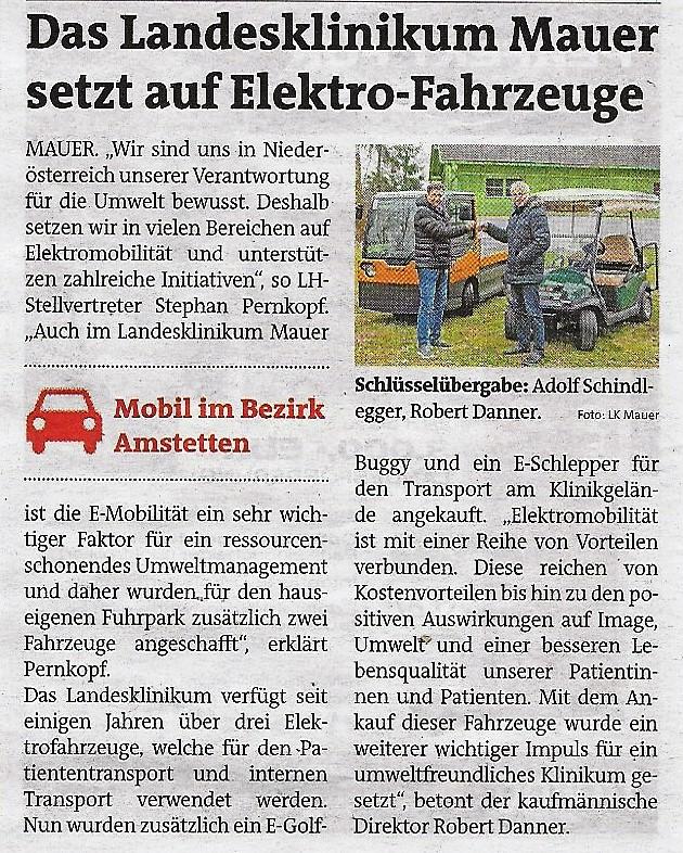 Mauer - E- Fahrzeuge Bezirksblätter 29.1.2020