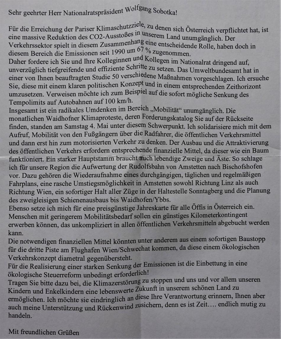 Eisenbahn Klimabrief an Sobotka 4. Mai 2019