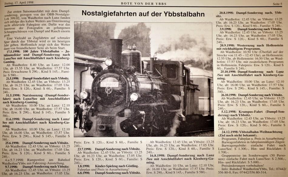 1998 Ybbstalbahn als Tourismusmagnet