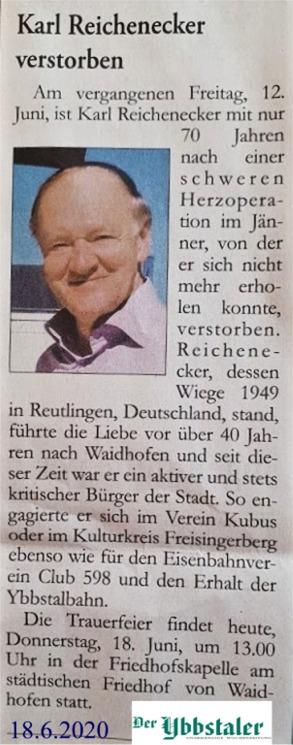 Karl Reichenecker Ybbstaler Todesanzeige