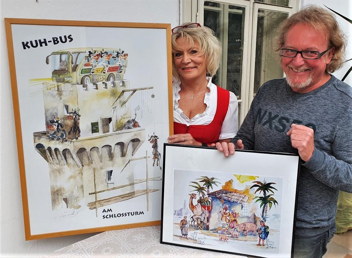 Herbert Petermandl und Renate Wachauer mit Petermandlbildern 12